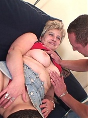 Old babe with big tits and big ass sucks dick and her granny pussy is fucked hard