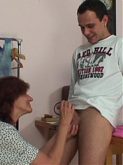 He jerks off and cums on her granny face after fucking her like his personal old slut