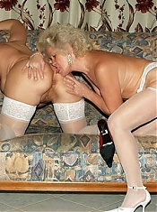 Nasty grannies Francesca and Erlene engage in pussy licking in this lesbian scene